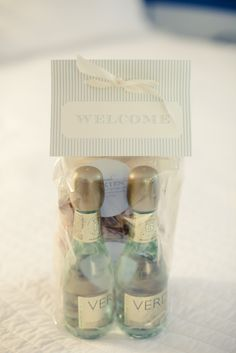 Gift Bags for a wedding or special weekend guests!! OMG Candi! Look at the mini bottles of Verdi!! LOVE IT! @Candace Stahlhut