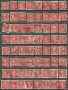 US Collection of 64 Stamps # 599 - 2¢ George Washington Issue Used