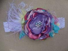 Spring Jubilee HeadbandBaby by AvryCoutureCreations on Etsy, $25.95 Vintage Headbands, Baby Girl Headbands, Ribbon Hair, Hair Bows, Baby Couture, Diy Headband, Love Craft, 1st Birthday Girls, Cute Crafts