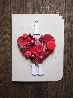Button heart. Great DIY card for the one you love!