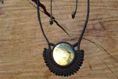 labradorite cabochon macrame stone necklace with adjustable length,gemstone necklace,labradorite jewelry,healing stone,round labradorite by ARTEAMANOetsy on Etsy