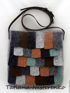 """Купить Сумка """"Прогулка по крыше"""" - серый, валяная сумка, сумка на каждый день, сумка на плечо"""