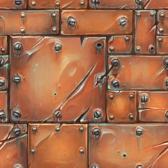 Another hand painted metal texture. Really well done with it looking very worn and the use of bolts etc. I like it because the colour is more of a brassy colour rather than the usual grey/blue hue.