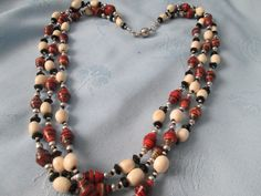 """Vintage 3 Strand Beaded Necklace + Earrings - red /white beads - black crystals/silver accents  - Magnet Closure - Length 23"""" by LsFindsandCreations on Etsy"""