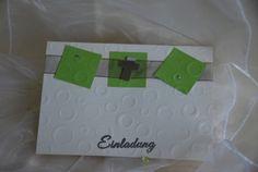 """10 DIY-Einladungskarten Kommunion """"Bubbles grün""""  von Cardlove.de auf DaWanda.com"""