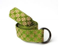 Silk green and pink paisley belt - Perfect for a Mother's Day Gift - $42