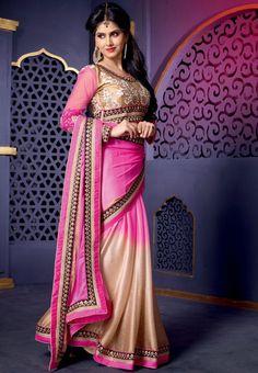 Charming Rani Pink and Bisque Cream Saree - Sarees - Women