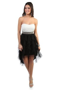 Deb Shops strapless two tone high low #prom party #dress with beaded waist