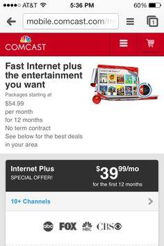 xfinity internet deals