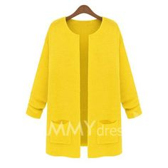 $10.30 Pockets Long Sleeves Acrylic Solid Color Ladylike Style Cardigan For Women