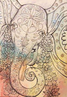 great elephant--love the artwork Elephant Love, Elephant Art, Elephant Watercolor, Tattoo Elephant, Colorful Elephant, Elephant Drawings, Elephant India, Elephant Sketch, Elephant Design