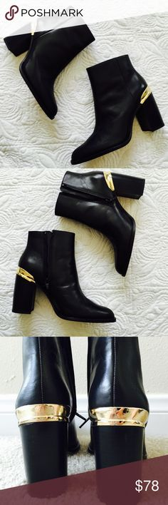 """Zara booties New without tag or box. Size 7, heel height 3.5"""". There is small scuff on the right heel, came that way. Zara Shoes Ankle Boots & Booties"""