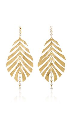 Hueb's earrings are crafted by hand from 18K gold. Designed with a textured finish, this leaf-shaped pair is dusted with sparkling diamonds. Showcase yours with side-swept locks.