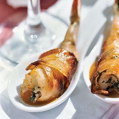 Bacon-wrapped Shrimp with Basil-Garlic Stuffing | Coastalliving.com