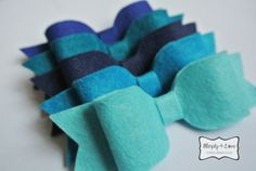 Big Beautiful 5-inches Wool Blend Bows in Blues by Simply4Love. Can be used as headbands, hairclips, gift toppers, shirt bows, scrapbooking and all other things fun!