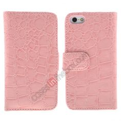 Crocodile Genuine Leather Wallet Case for iPhone 5 - Pink US$6.99