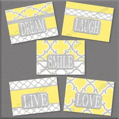 Yellow Gray Wall Art Decor Prints Inspire Word by collagebycollins, $19.99