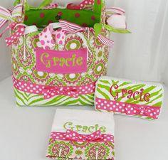 Monogrammed Gracie Diaper Bag Set  3 pc by sassygatormonograms, $116.95