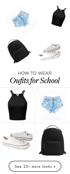 """Cute school outfit for high schoolers"" by kaylee030905 on Polyvore featuring Converse and MANGO"