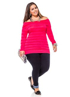 Ashley Stewart Shadow Stripe Off The Shoulder Sweater, Ultra Soft Jeggings and Magazine Clutch