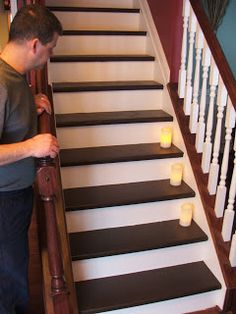 Remodelaholic | Carpeted Stair To Wooden Tread Makeover DIY