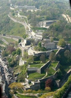 The Citadel of Namur viewed from the sky, Wallonia region, BELGIUM
