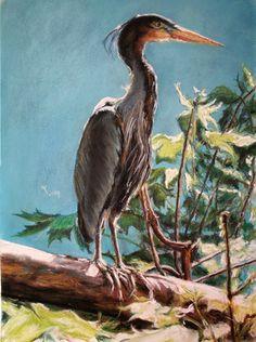 Grey Heron - soft pastels, 30x40 cm, based on the photo made by Karolina Wengerek