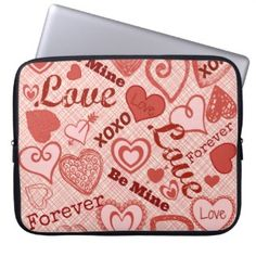 Love XOXO Be Mine Forever Hearts Valentine's Day Laptop Computer Sleeves Cute Valentines Day Gifts, Computer Sleeve, Novelty Gifts, Laptop Computers, Hearts, Unique, Sleeves, How To Make, Heart