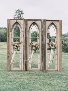 """Outdoor Wedding Ceremonies - As photographer Julie Paisley said, from the lush, autumnal florals and stunning ceremony backdrop to the sweet couple and beautiful reception, """"this Nashville wedding was beautiful on the eyes and on. Wedding Ceremony Decorations, Ceremony Backdrop, Wedding Ideas, Wedding Backdrops, Trendy Wedding, Rustic Wedding, Wedding Church, Elegant Wedding, Chapel Wedding"""
