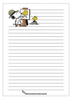 snoopy and woodstock illustrated writing page