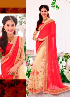 You are bound to make a impressive fashion statement with this cream and red georgette designer saree. The desirable embroidered and patch border work a intensive element of this dress. Comes with mat...
