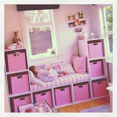58 Genius Toy Storage Ideas & Organization Hacks for Your Kids' Room - Page 2 of 2 Can't stand toys and books everywhere in your house? Try these 34 toy storage ideas & kids room organization hacks to transform your kids' messy room. Teenage Girl Bedrooms, Little Girl Rooms, Kids Bedroom Ideas For Girls Toddler, Little Girls Playroom, Box Room Bedroom Ideas For Kids, Rooms For Kids, Girl Kids Room, Small Kids Playrooms, Nursery Ideas