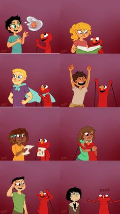 The seven + nico with Elmo | art by TheCottonProject