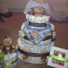 Diaper Cakes and washcloth cupcakes made for baby boy