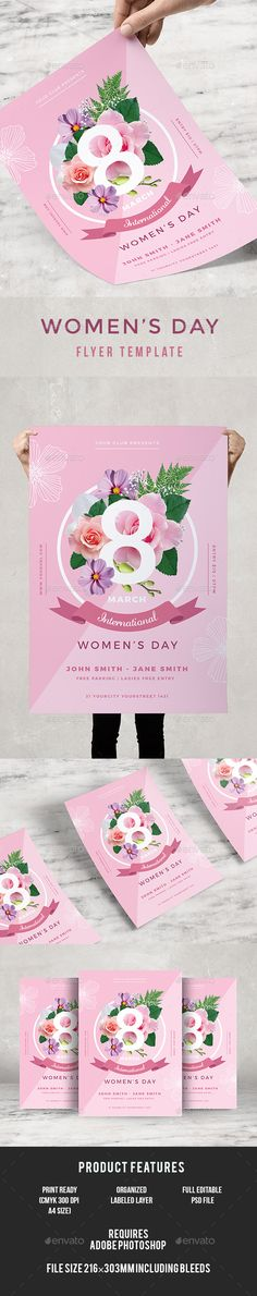 #Womens Day #Flyer - #Events Flyers Download here: https://graphicriver.net/item/womens-day-flyer/19490932?ref=alena994