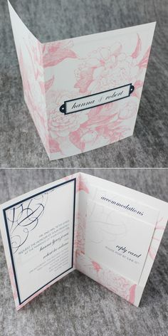 This downloaded stationery template creates pocket invitations for an affordable price (NOT pink; color can be changed)