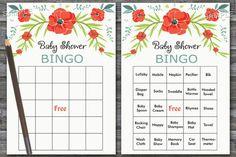 60 watercolor flowers bingo cards, Floral baby shower bingo, colored flowers baby shower bingo, poppy flower shower bingo cards, BG-100 #FlowerBingoCards #PrintableBingo #FloralBabyShower #BabyBingo #BabyBingoCards #BabyShowerActivity #FloralBingoCards #FloralBabyBingo #BabyShowerGame #BabyShowerBingo Baby Bingo, Baby Shower Bingo, Baby Shower Activities, Baby Shower Printables, Flower Shower, Floral Baby Shower, Blank Bingo Cards, Baby Memories