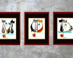 SET of THREE, Mid century modern cat prints, Giclee, Spells MOD, Three  Mod Mice, Atomic, eames, retro