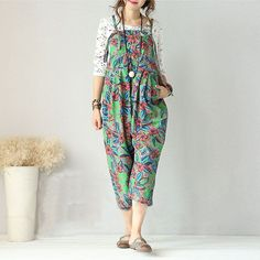 Jumpsuits - Women Casual Floral Printing Loose Cotton Jumpsuits With Pockets Cotton Jumpsuit, Casual Jumpsuit, Jumpsuits For Women, Harem Pants, Latest Trends, Floral Prints, Printing, Pockets, Model