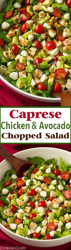 Caprese Chicken and Avocado Chopped Salad Recipe