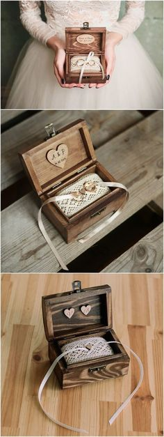 Personalized wedding ring box. Rustic wooden ring box. Rustic ring holder. Ring bearer. #weddingring #weddingrings