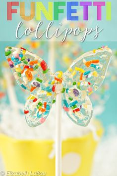 Funfetti Lollipops--lollies that taste like cake and are packed with sprinkles! | From candy.about.com