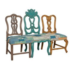 Side chair-inspired carved mahogany wood bench with a patchwork upholstery and nailhead trim.   Product: BenchConst...