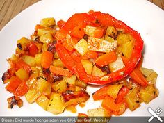 Paprika gefüllt mit Kartoffeln