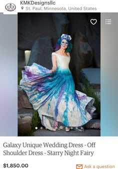 """Galaxy Wedding Dress Off Shoulder Dress Starry Night Fairy Wedding Dress Painted Dress Unique Wedding Dress """"Space Princess Gown"""" Wedding Dresses With Straps, Colored Wedding Dresses, Modest Wedding Dresses, Unique Dresses, Prom Dresses, Fabulous Dresses, Dress Off Shoulder, Bridal Gowns, Wedding Gowns"""