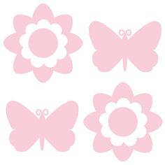 Butterfly and Flower Silhouettes - GiGi Pink WallPops for Baby Decals #walldecals  #wallart  #peelandstick  #WallPops  #wallstickers  #decor  #DIY  #decorating