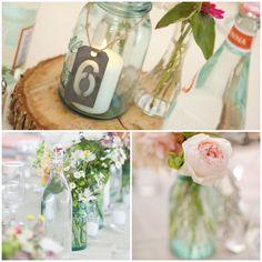 wedding table centerpieces | Lake Tahoe Wedding Inspiration | Blue Glass Bottle Centerpieces | Lake ...