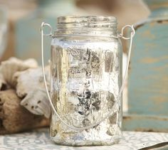 DIY mercury glass & wire hanging candle holders from mason jars