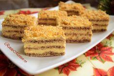 Prăjitura Krantz, este o prăjitură cu trei foi aerate, cu nucă măcinată, umplute cu o cremă de gălbenușuri și unt, ornată cu krantz - nuca caramelizată. Romanian Desserts, Food Festival, Sweet Treats, Cheesecake, Food And Drink, Cooking Recipes, Ice Cream, Sweets, Cookies