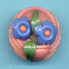 Vintage Celluloid Button…Weeber Type... Multi-Component Flower Pot…Colorful